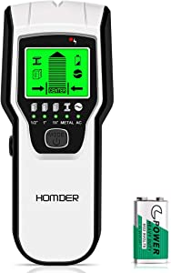 Stud Finder Wall Scanner 5 in 1 Upgraded Electronic Wall Scanner with Battery for Wood Metal and AC Wire Detection,HD LCD Display and Audio Alarm