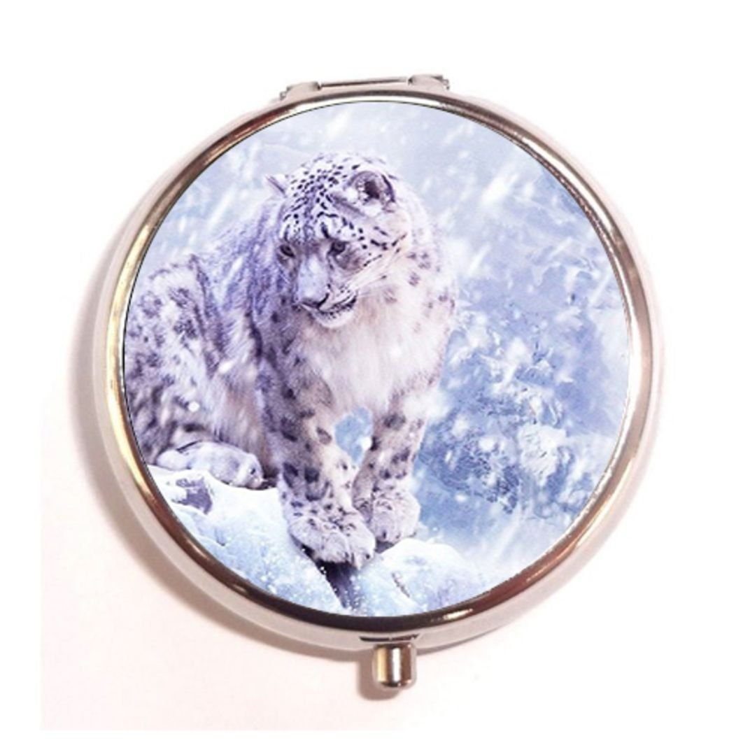 Leopards In The Snow Natural Custom Fashion Round Pill Box Medicine Tablet Holder Wallet Organizer Case for Pocket or Purse