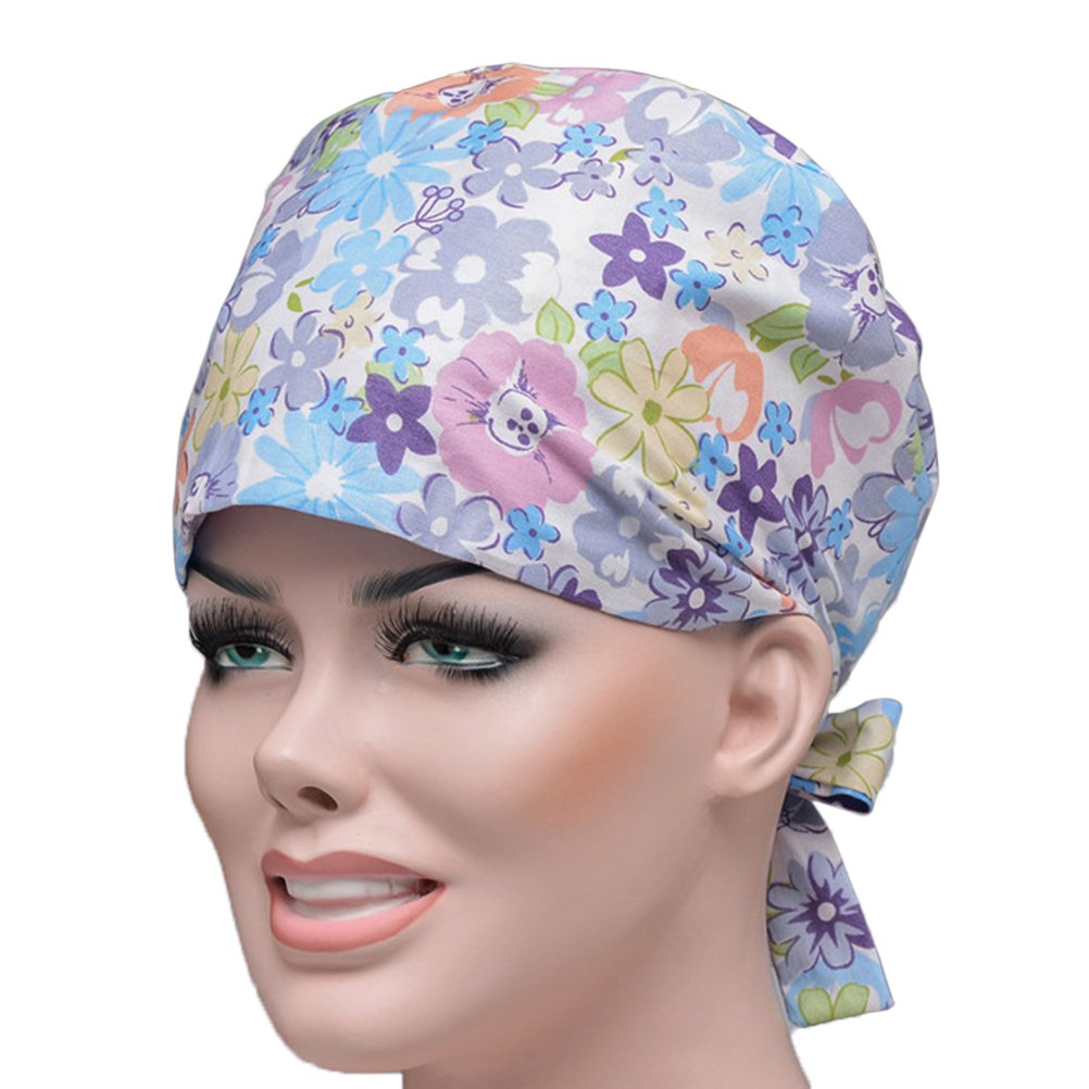 LUOEM Unisex Hat Chef Tie-Back Scrub Cap Nurse Hat for Causal Professional DC152632A7AL95007