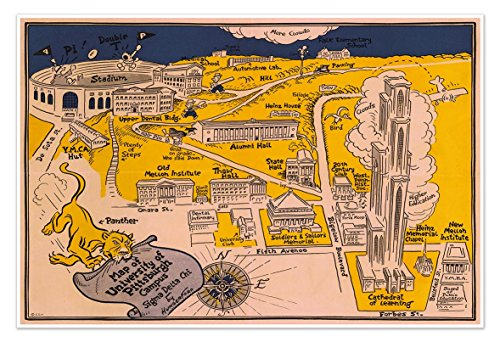 University of Pittsburgh - Campus MAP circa 1935 - measures