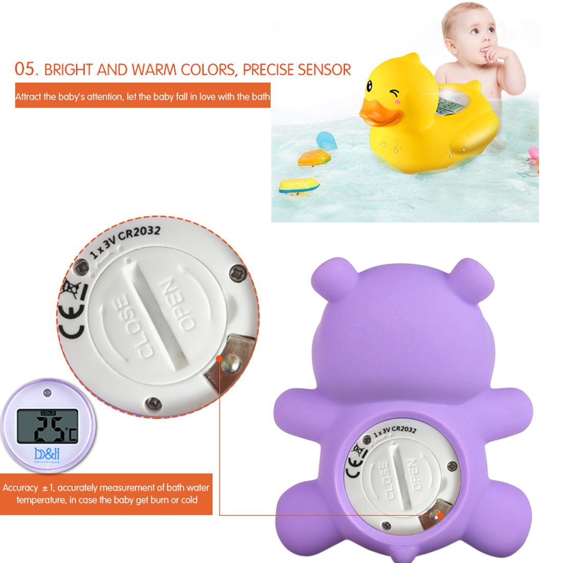 b&h Baby Duck Thermometer, the Infant Baby Bath Floating Toy Safety Temperature Thermometer (Duck)