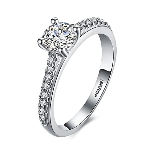 Banda compromiso anillos de boda para mujeres 18 KRGP Cobre Chapado En Platino Zircon Piedra anillos