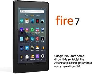 """Tablet Fire 7, schermo da 7"""", 16 GB, (Nero) - Con pubblicità"""