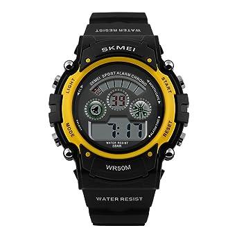 8e2e0f5187 JMX 腕時計 スポーツ デジタル表示 防水 シンプル メンズ ウォッチ アラーム 日付曜日 多機能 (イエロー