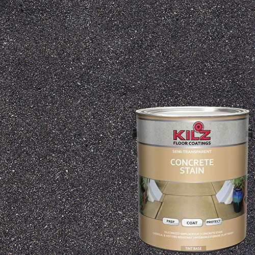 - KILZ 13512601 L397311 Interior/Exterior Semi-Transparent Color Concrete Stain 1 Gallon Charcoal Cloud/Slate Gray