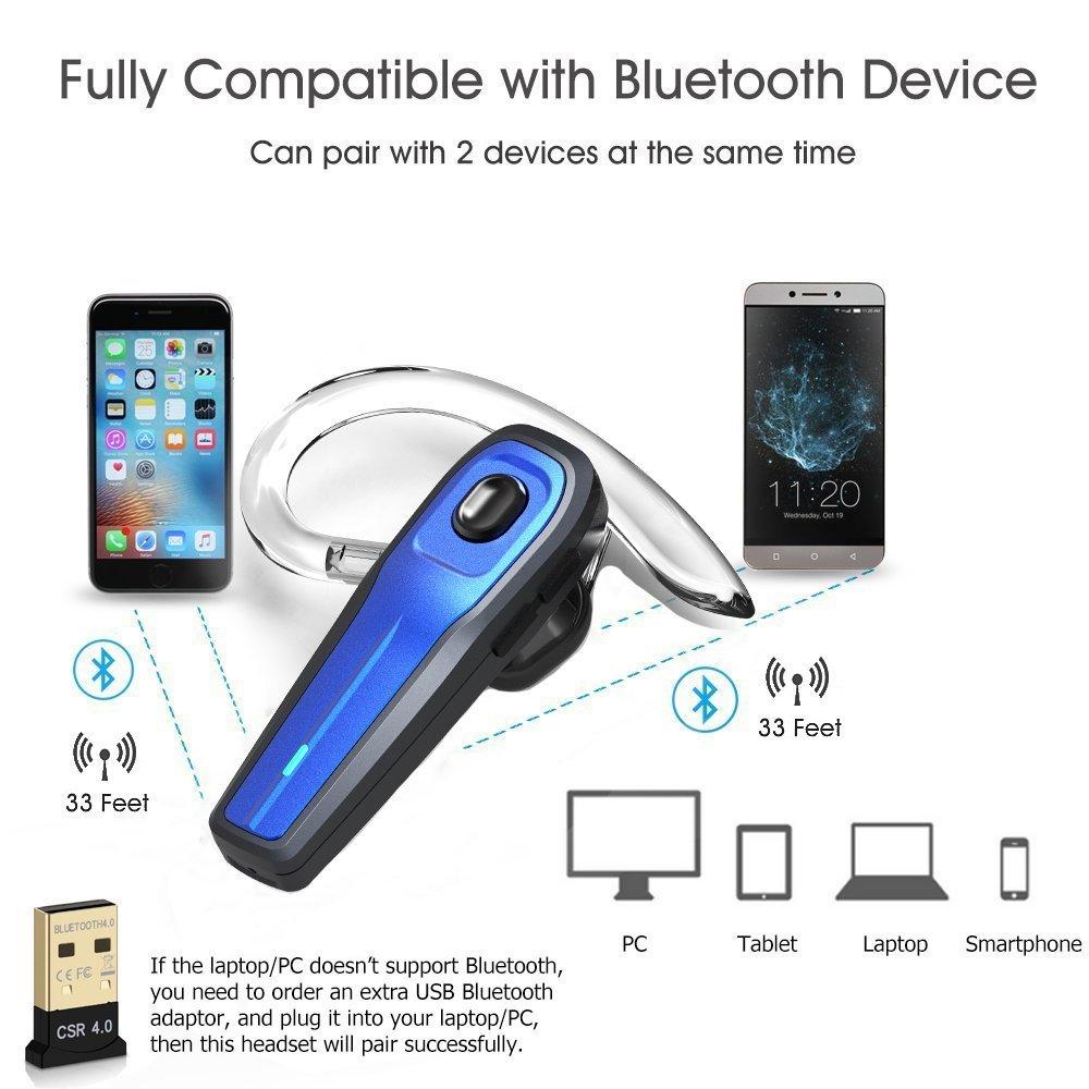 Bluetooth Headset, [New Version] V4.1 Drahtlos Kopfhörer Bluetooth Ohrhörer mit Mikrofon, Rauschunterdrückung Chat und Hände frei Funkkopfhörer für LKW-Fahrer, Wireless Headphone für iPhone Android Handys Hörmuschel