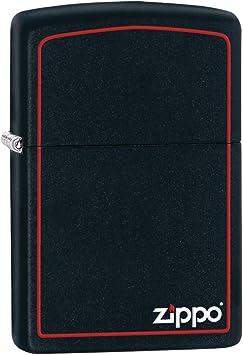 Zippo Logo Mechero, Black Matte, 3.5x1x5.5 cm