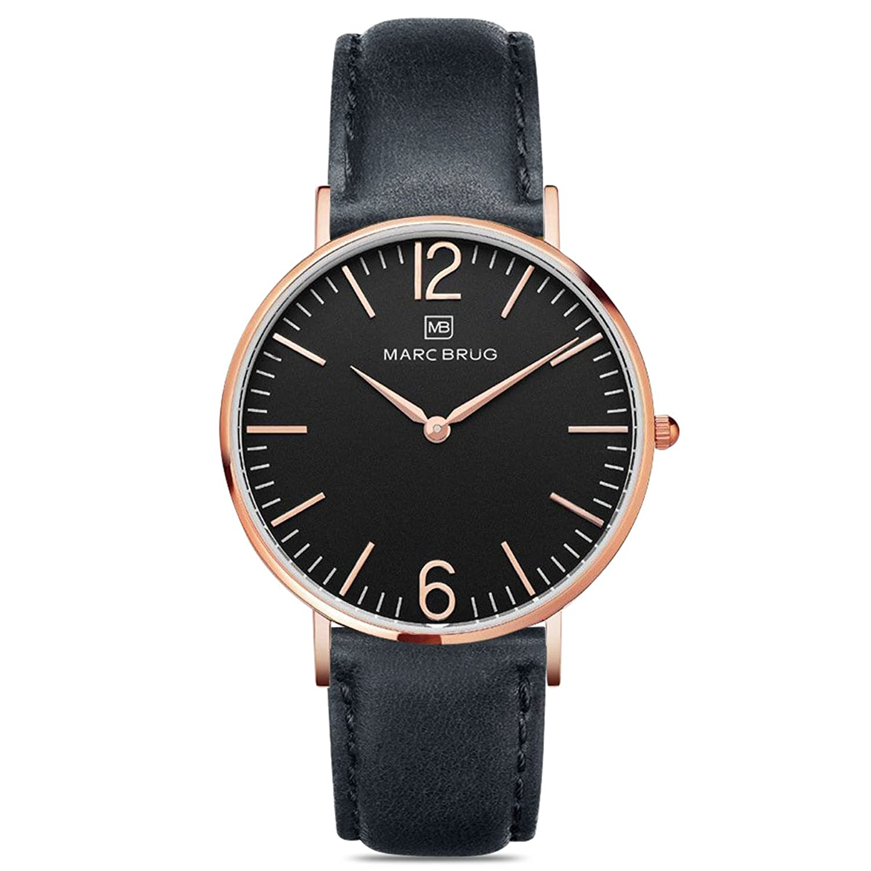 Marc brÜg Herren Armbanduhr Minimalist Davos 41 schwarz mit Rotgold-Finish