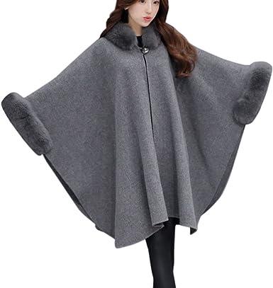 Wintialy Christmas Women Jacket Casual Woollen Outwear Fur Collar Parka Cardigan Cloak Coat Hot sale
