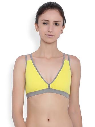 383be2f021 Brag Plunge Neck Cage Back Pullover Tshirt Yellow Bralette Bra Lightly  Padded for Girls Women