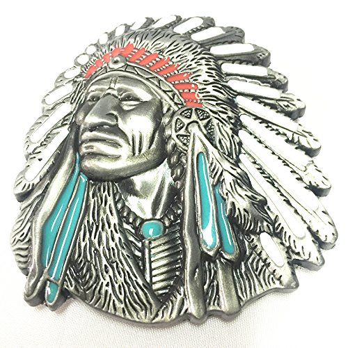 3d Native American Old West Indian Warrior Chief Belt Buckle Biker Motorcycle Vintage Silver