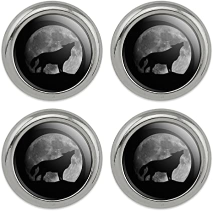 Gray Wolf with Fall Background Metal Craft Sewing Novelty Buttons Set of 4