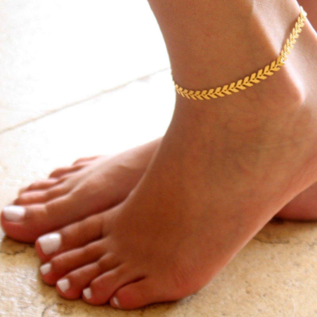 Doyime Bracelet de cheville Cha?ne de pied avec feuilles de mode Bijoux r/églable pour les femmes et les filles Petit papillon