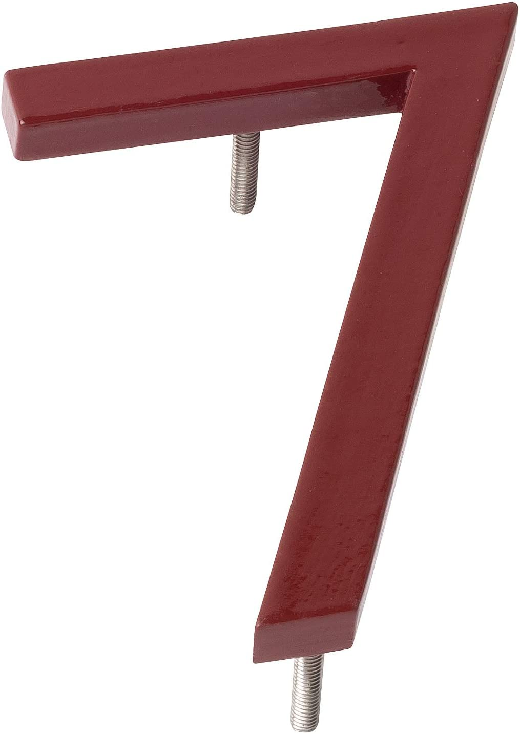 Montague Metal Products MHN-4-F-BR1-0 Solid Brushed Aluminum Modern Floating Address House Numbers 4 Powder Coated Brick Red