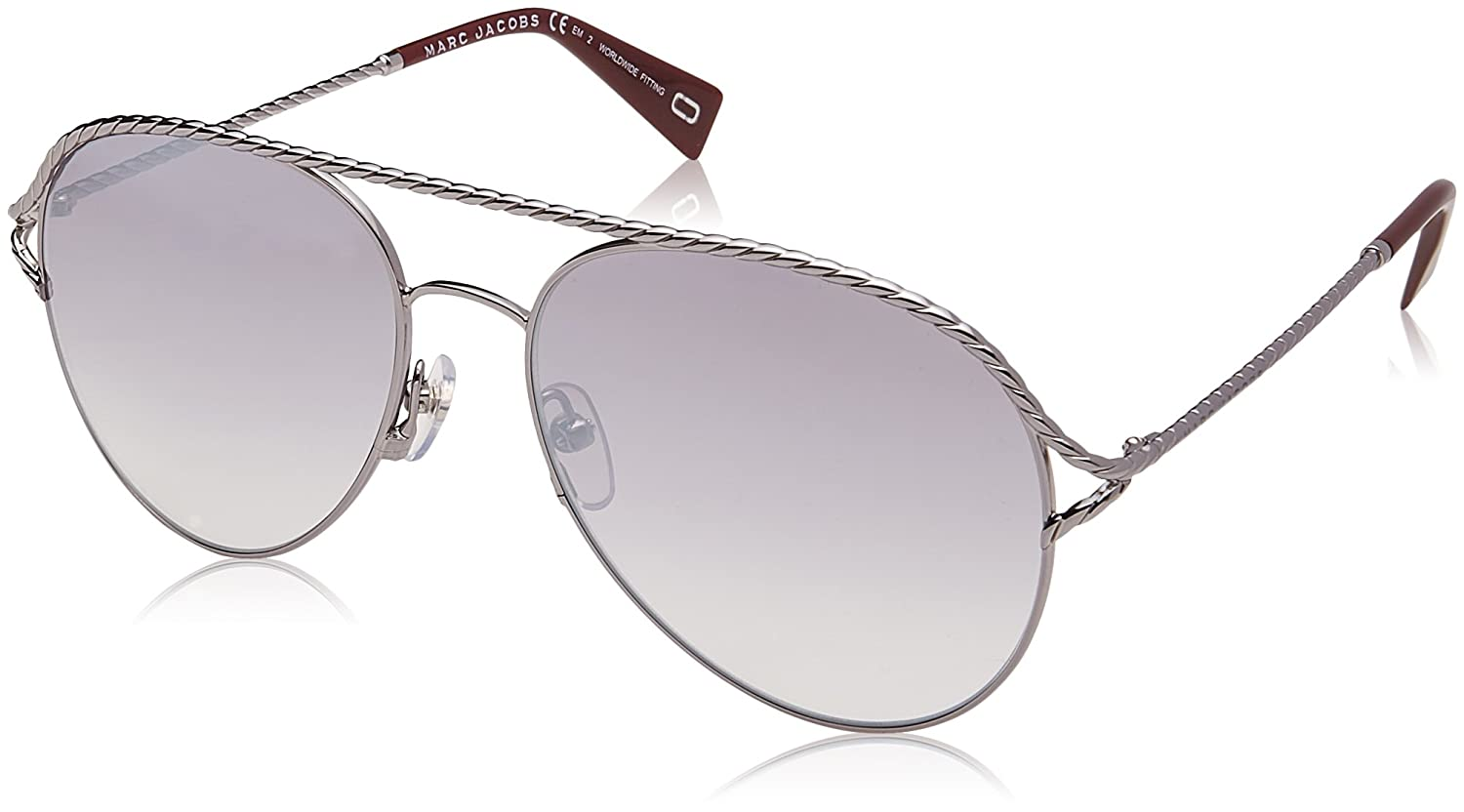 Marc Jacobs Metal Twist Aviator Sunglasses in Ruthenium Red MARC 168//S GHP 58