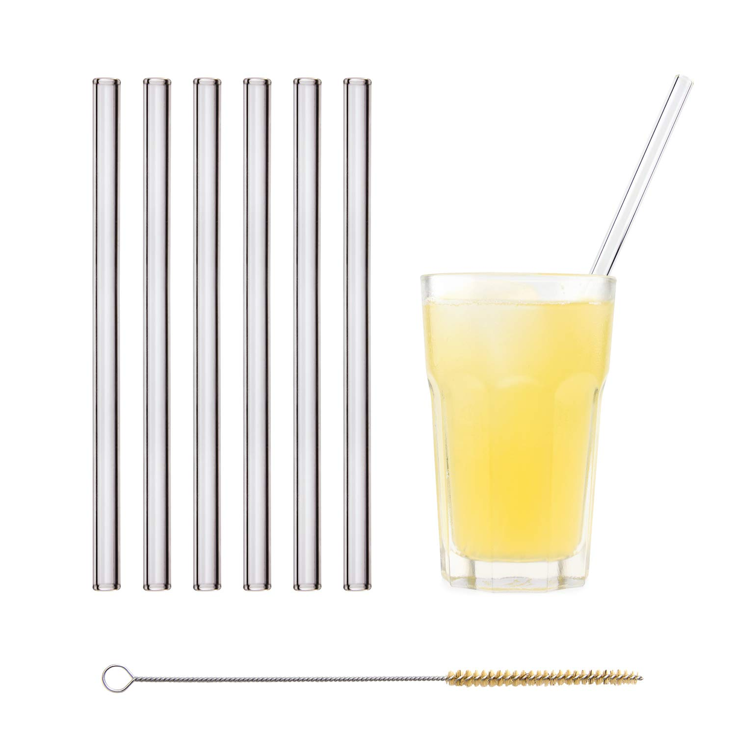 HALM Glass Straws - 6 Reusable Drinking Straws + Plastic-Free Cleaning Brush - Made in Germany - Dishwasher Safe - Eco-Friendly - 23 cm (9 in) x 0.9 cm - Straight - Perfect for Smoothies, Cocktails by HÅLM