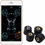 KDator Car Tyre Pressure Monitoring System TPMS Alarm Warning System with 4pcs External Sensor By Bluetooth 4.0 For Iphone IOS Android Mobile Phone APP
