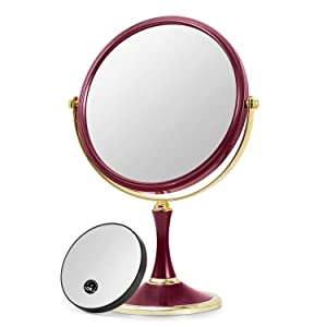 "OMIRO TRAVEL MAKEUP MIRROR – Double-sided Swivel 1X/3X Magnification Mirror,8"" (Red)"