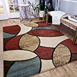 Maxy Home Pasha Oval Circles Multicolor 5 ft. 3 in. x 6 ft. 11 in Area Rug For Sale