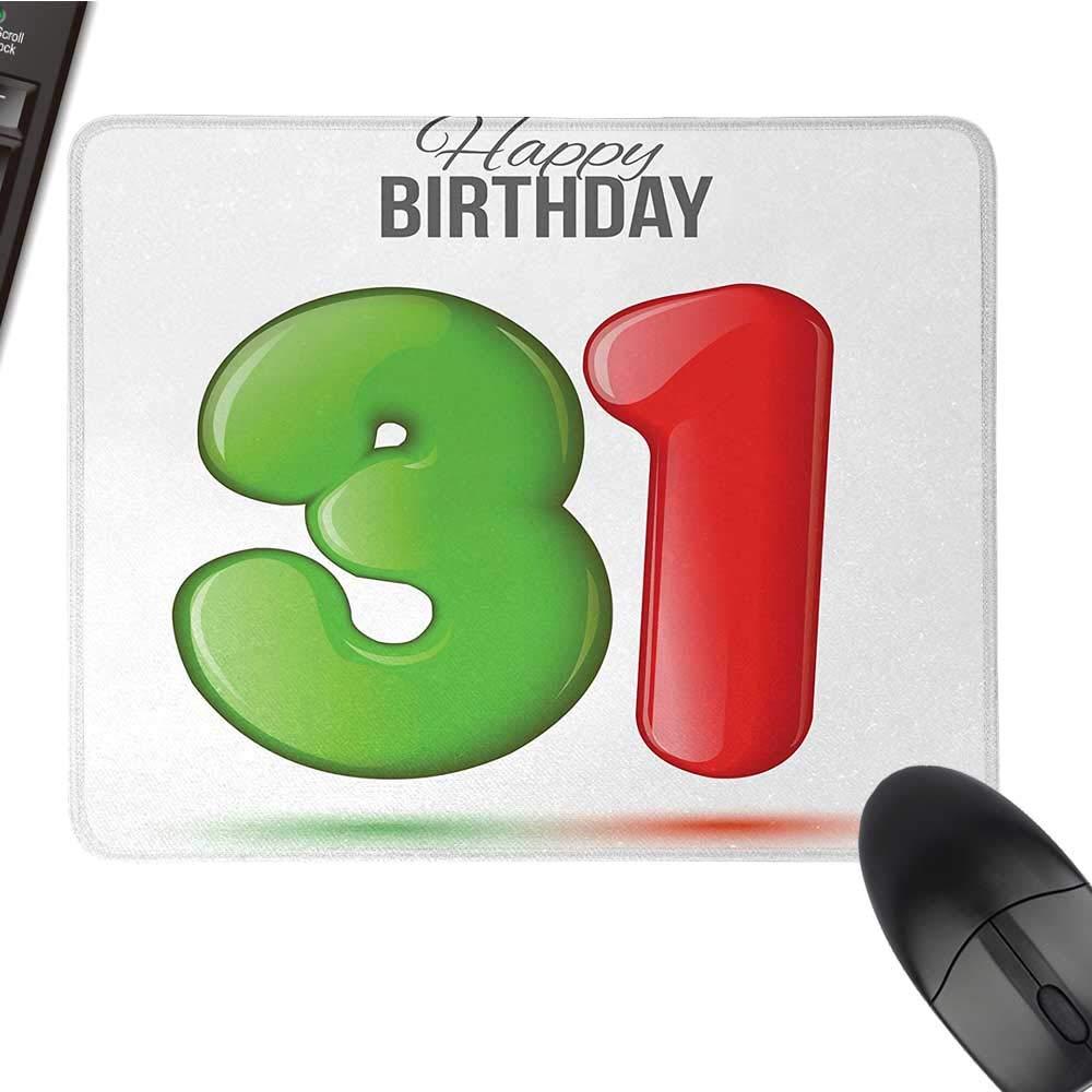 30th Birthdayオフィスマウスパッド かわいいカップケーキ キャンドルスティックスター付き Bokehバックドロップ ロマンチックデザイン 防水マウスパッド 9.8インチx11.8インチ レッドオレンジとブルー 15.7