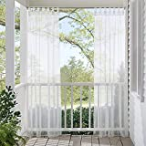 RYB HOME Sheer Curtains Panels for Patio Window Treatment Tab Top Waterproof Outdoor Indoor Privacy Voile Drape with 1 Bonus Rope, 1 Panel, Wide 54'' by Long 84 Inch, White