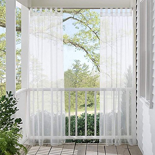 RYB HOME Outdoor Sheer Curtain for Patio, Waterproof Outdoor Indoor Curtains Privacy White Sheer Tab Top Volie Drapery for Porch Pergola Cabana with 1 Bonus Rope, 1 Panel, Wide 54 x Long 84 Inch ()
