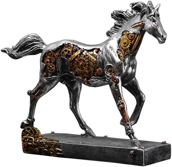 SY-Home Escultura De Estatua De Caballo, Escultura De Arte Modelo De Caballo Mecánico Decoración De Artesanía Decoración De Oficina En Casa Decoración De Escritorio H22CM