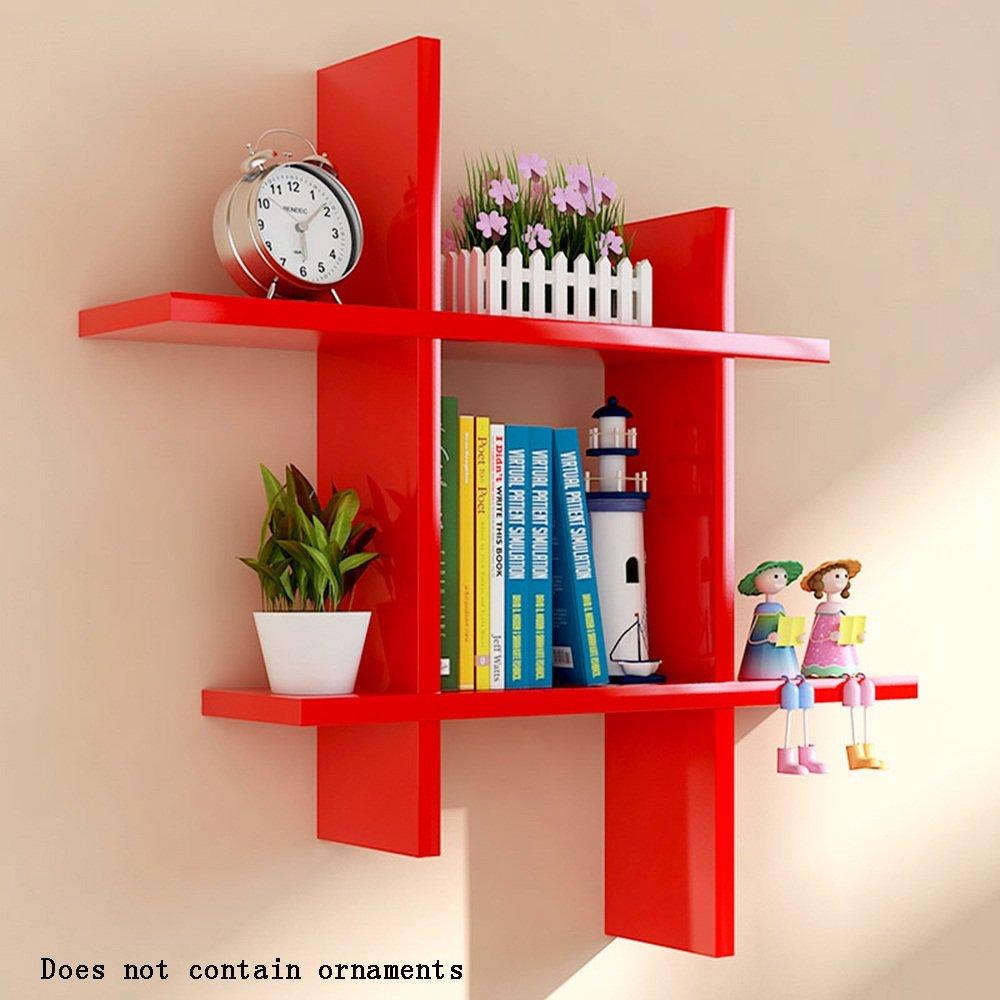 ALUS- Rectangular Wood-based Panels Floating Shelf/wall Shelves/Plant Stand/bookshelf, Wall Hanging Backdrop Decoration Rack Wall Frame ( Color : Red )