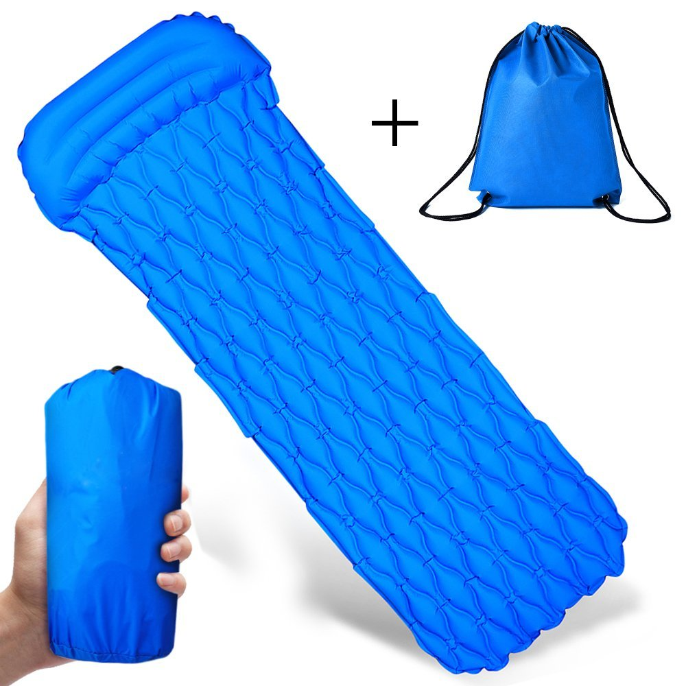 Sampow Lightweight Sleeping Pad - Ultralight Mat,Camping,For Travel Beach Camping,Leakproof Portable Outdoor Sleeping Mat With Pillow,Best Outdoor Sleep