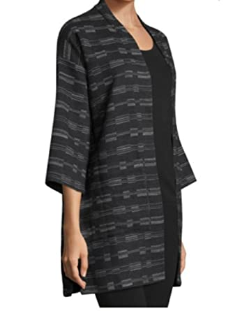4b288d1f8d5 Eileen Fisher Womens Knit Long Open-Front Blazer Black O S at Amazon Women s  Clothing store