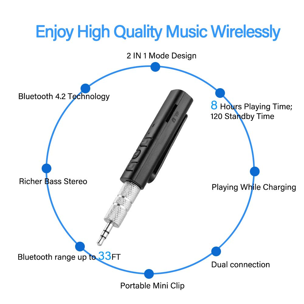 Bluetooth Aux Receiver Support TF Card Portable Wireless Audio Adapter Hands-Free Car Kits 3.5mm Aux Receiver for Headphones//Speakers//Car//Home Music Streaming Stereo System