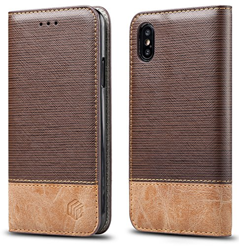 for iPhone Xs/iPhone X Case,WenBelle Blazers Series,Stand Feature,Double Layer Shock Absorbing Premium Soft PU Color Matching Leather Wallet Cover Flip Cases for Apple iPhone Xs/X 5.8 inch (Brown)