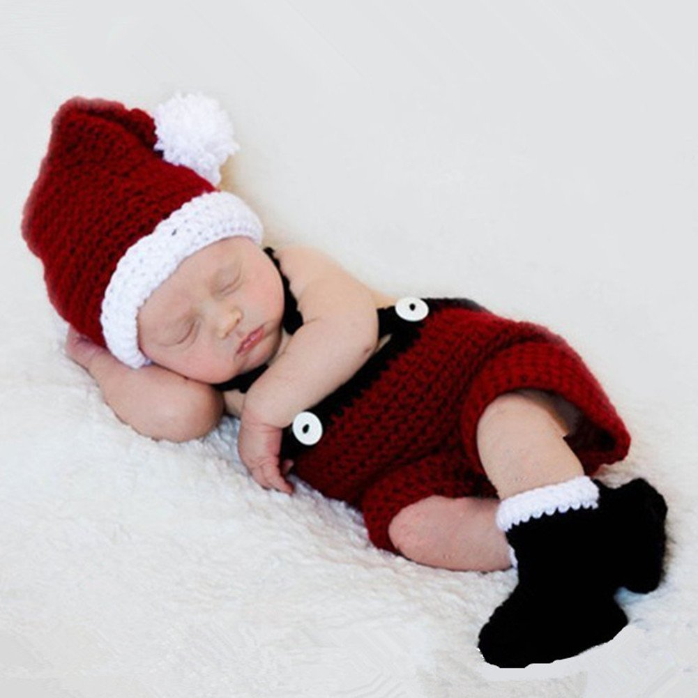 HAPPY ELEMENTS Infant Newborn Costume Photography Prop Santa Claus Knitted Outfit
