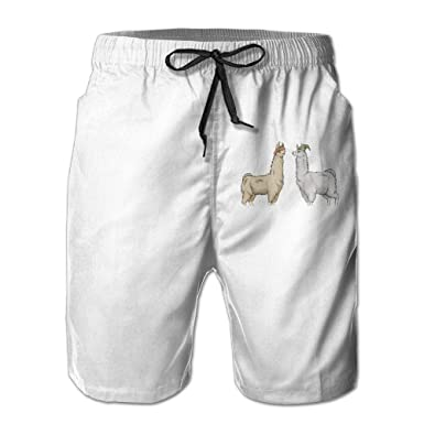 Holiday Llama Mens Fashion Board//Beach Shorts Drawstring Beachwear with Pockets
