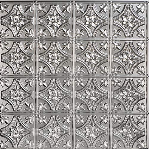 From Plain To Beautiful In Hours 150sr-24x24-25 Gothic Reams Ceiling Tile Silver