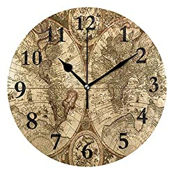 NMCEO Wall Clock Old Map Round Hanging Clock Acrylic Battery Operated Wall Clocks for Home Decor Creative