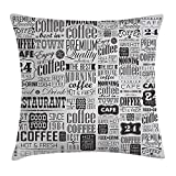 Queen Area Vintage Retro Style Texts and Typographic Icons Vintage Coffee Shop Restaurant Square Throw Pillow Covers Cushion Case for Sofa Bedroom Car 18x18 Inch, Charcoal Grey Pale Grey