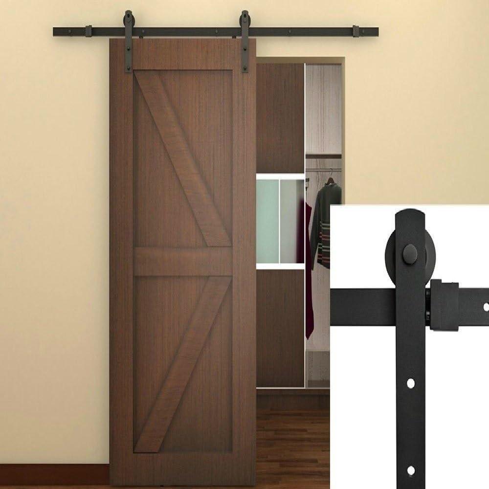 6 ft Negro Americano País granero madera acero puerta deslizante Hardware armario Set Estilo Antiguo: Amazon.es: Bricolaje y herramientas