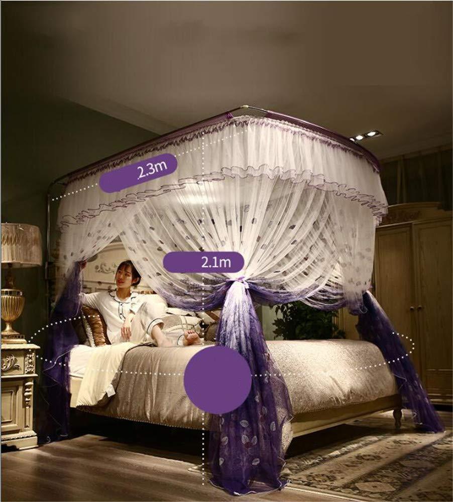 Retractable u-Type Mosquito net Anti-Mosquito Insect net Travel Mosquito net Outdoor Mosquito net Indoor Mosquito net Bedroom Decoration, Purple, L (120-245Adjustment) W180cm by RFVBNM Mosquito net (Image #4)