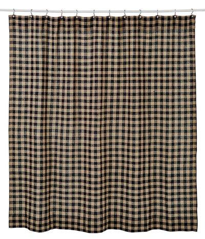 VHC Brands Classic Country Primitive Bath-Burlap Check Black Shower Curtain 72 x 72