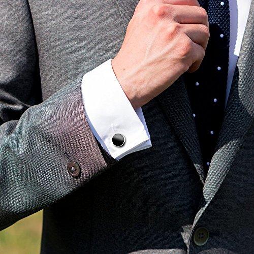 UHIBROS Mens Cuff Links Stainless Steel Round Screw Cap Agate Tuxedo Cufflinks For Men Formal Cuff Shirt