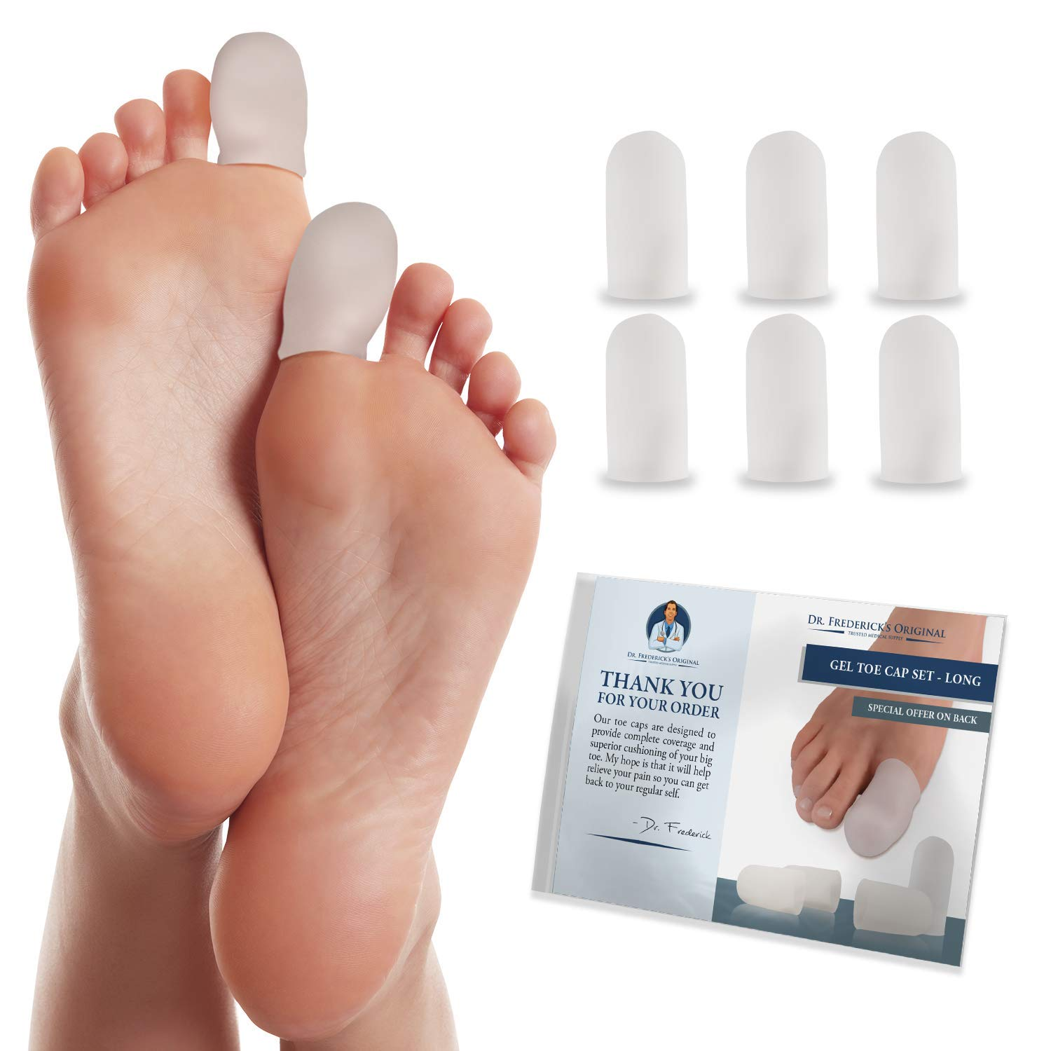 Dr. Frederick's Original Gel Toe Caps - 6 Pieces - Big Toe Guards for Protection of Ingrown Toenails, Corns, Calluses, Blisters, and More - Large: Industrial & Scientific