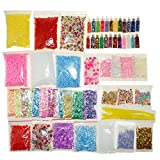 Slime Supplies Kit, 60 Pack Slime Beads Charms Includes Foam Beads, Fishbowl Beads, Glitter Jars, Fruit Slices, Rainbow Pearl, Colorful Sugar Paper Accessories and Slime Tools for DIY Slime Making