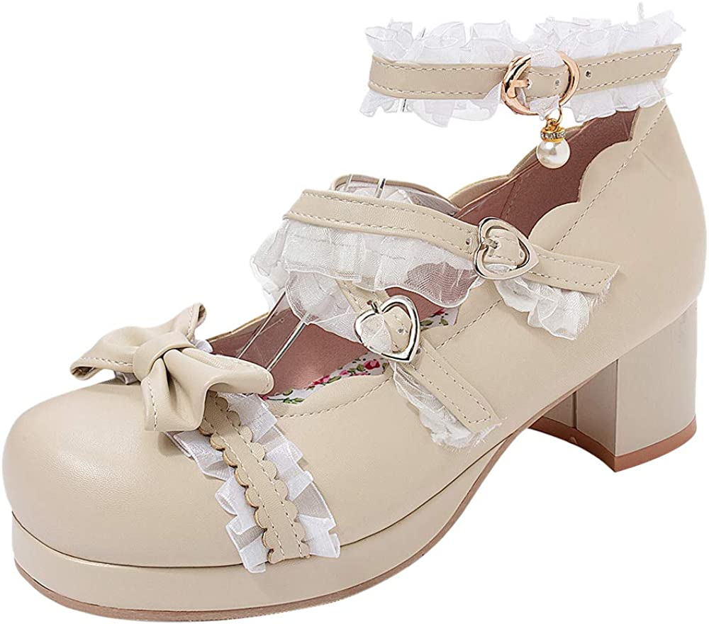 Sweet Womens Lolita Mary Mid Block Heel Chic Lace Up Oxford Round Toe Jane Shoes