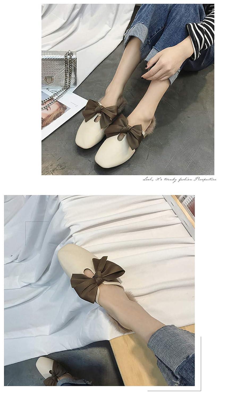 ff142edc2a Beige 35-39 Fond Plat Drag à Un Mot Pantoufles en Molleton Full Foot Happy  Feet lhxyx Pantoufle Confortable pour Femmes ...