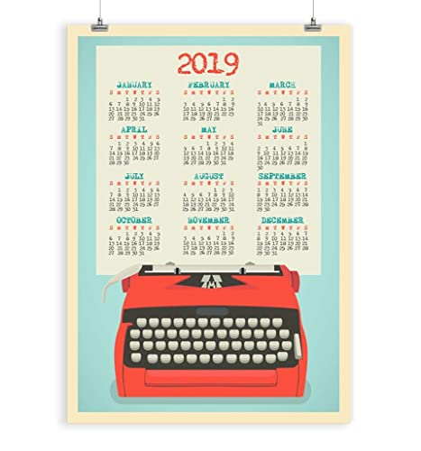 Art Wall Calendar 2019 Yearly Large - One Page - Office Poster - Cubicle  Art - Red Blue Retro Typewriter Print Unframed
