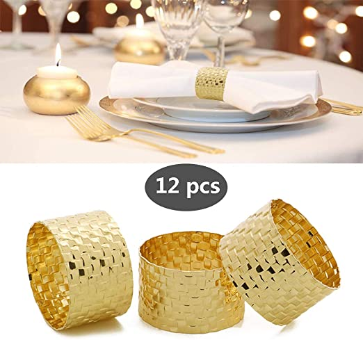 Napkin Ring,Round Mesh Napkin Rings Buckles Holders for Wedding Dinner Party Table Festival Decoration Black-12 PCS