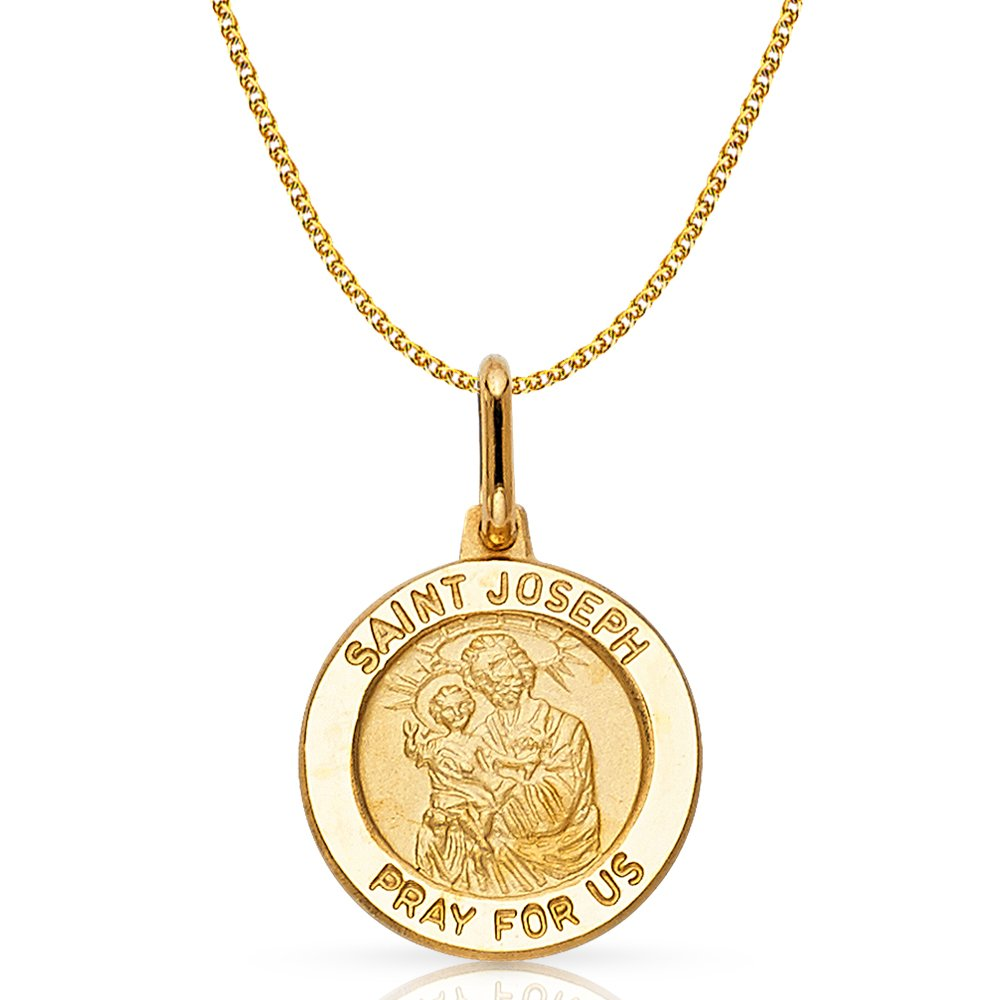 Joseph Pray For Us Charm Pendant with 1.2mm Flat Open Wheat Chain Necklace 14K Yellow Gold St