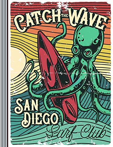 Catch The Wave - San Diego Surf Club Composition Notebook Journal (large) - College Ruled Lined Writing And Journaling Book - Vintage Octopus Surfer [Composition Notebooks / Journals, Stylesyndi] (Tapa Blanda)