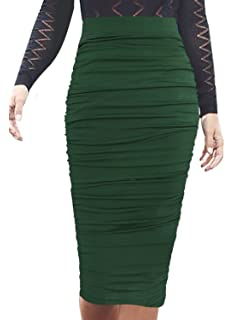 92f6b042b5 VfEmage Womens Elegant Ruched Frill Ruffle High Waist Pencil Mid-Calf Skirt